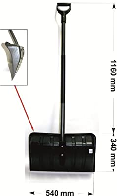 Schneeschieber Schneeschaufel 54 cm Breite mit ergonomischen Stiel und Kälteschutz