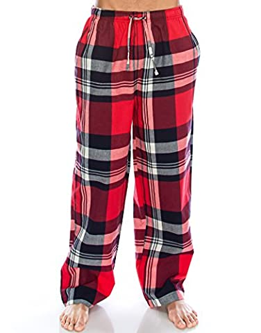 TINFL Men's Plaid Check Soft 100% Cotton Flannel Lounge Pants PM-23-RedBlack-L
