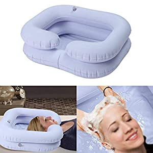 Comaie Aufblasbares Becken-Bade-Badaufsatz des PVC-Waschmittels im Bett faltbares tragbares Waschen für behinderte ältere Leute Schwangerschaft postoperativer Patient aufgeblasenes Shampoo (Blau)