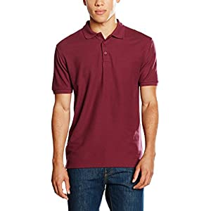 Fruit of the Loom SS035M, Polo Uomo, Rosso (Burgundy), Large