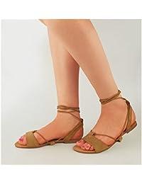 Femmes Nœud Gladiateur Sandales Plates Lanière Eté Métallique Chaussures Pointure