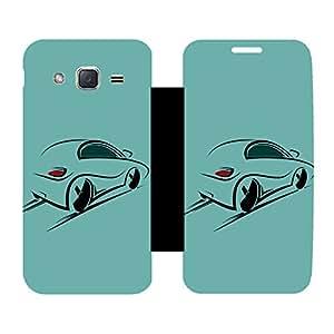 Skintice Designer Flip Cover with Vinyl wrap-around for Samsung Galaxy J2, Design - speed car