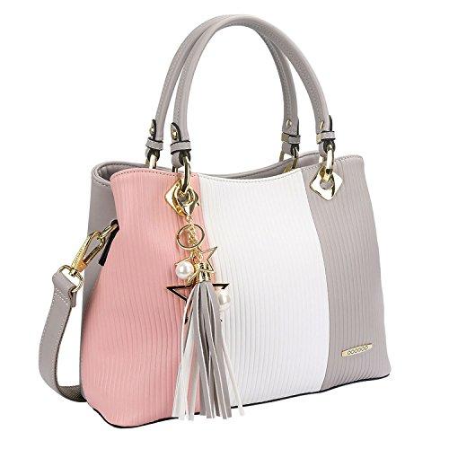 Damen Handtasche Mehrfarbig gestreift Umhängetasche Shopper Tote Henkeltasche