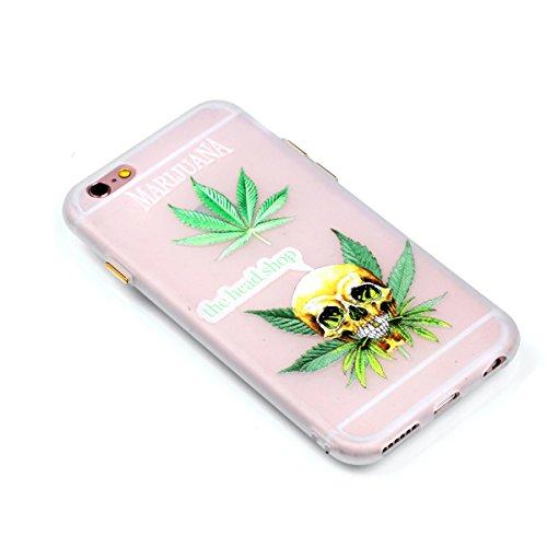 iPhone 6 6S (4,7 Zoll) Hülle,iPhone 6 6S (4,7 Zoll) Case,Cozy Hut ®TPU Leuchtende Nacht Silikon Schutzhülle Handyhülle Painted pc case cover hülle Handy-Fall-Haut Shell Abdeckungen für iPhone 6 6S (4, Blatt-Skelett