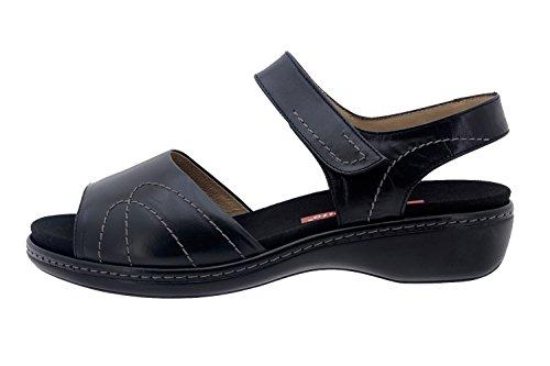 Scarpe donna comfort pelle Piesanto 8801 sandali soletta estraibile comfort larghezza speciale Negro