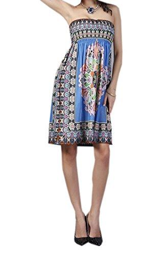 Yue Lian Damen Minikleid Bandeau Paisley Urlaubskleid Schulterfrei Strandkleid Partykleid Aztekisch Blau