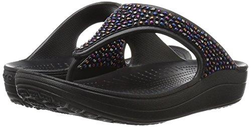 Crocs Damen Sloane Embellished Sandalen Flipflops, Verschiedene Farben (Schwarz / Mehrfarbig), 39/40 EU -