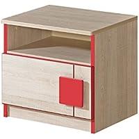 Nachttisch mit einer Tür Eiche Santana/Rot preisvergleich bei kinderzimmerdekopreise.eu