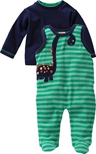 Schnizler Unisex Baby Strampler Set, Dino, 2 - tlg. mit Langarmshirt, Oeko - Tex Standard 100, Gr. 62, Grün (grün 29)