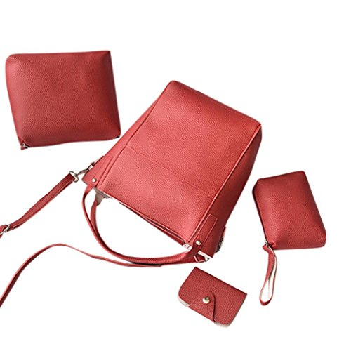 BZLine® 4Pcs Frauen-Muster-Leder-Handtasche + Umhängetasche + Messenger Bag + Card-Paket Rot