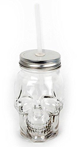 Glas Skelett Totenkopf Mason Trinkflasche mit Strohhalm und Deckel-Halloween Party Geschirr farblos (Halloween Mason Gläser)