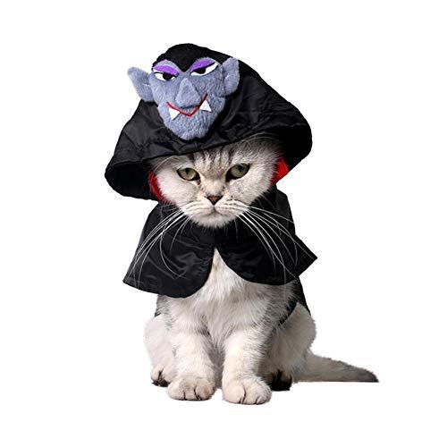 Kleine Haustier Katze Winzigen Hund Beängstigend Halloween Weihnachts-Vampir Große Kleider Mantel Kapuzen, M,S