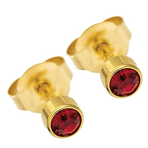 BRAND NEW EAR PIERCING STUD 3 MM BEZEL ROUND STUDS EARRINGS STUD CERTIFIED STERILE SEALED PACK GOLD COLOUR PLATED (Red)
