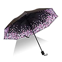 Ansblue Folding Compact Travel Umbrella,Women Lightweight Durable Travel Foldable Umbrella Windproof Rainproof UV Protection,8 Ribs,Inner Layer Printing