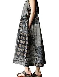 a9353c0a47255 TPulling Robe de Femme Soiree Elégante Tunique Robe ❤ Été sans Manches en  Lin Strappy Loose Boho imprimé Robe Longue ❤ Femmes…