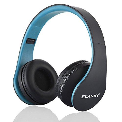 Ecandy Bluetooth para auriculares estéreo V4.0 Música plegable Over-oreja sonido de alta fidelidad Calling construido en Mircophone manos libres, inalámbrico de conexión de cable, para Iphone 6S 6S, 6S Plus Samsung, Android Smartphone, tableta, PC, MAC y Laptop (4 en 1)(azul)