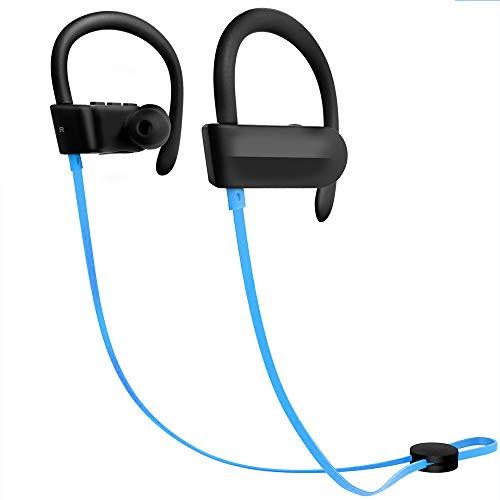 Hoidokly Auriculares Bluetooth 4.1 Cascos Inalámbricos Deportivos con Micrófono, reducción de Ruido, IPX5 Impermeable, Sonido Estéreo, Auricular para movil con Manos Libres (Blue)