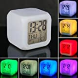 Zollyss 7 Colour Changing LED Digital Alarm Clock with Date, Time, Temperature For Office Bedroom