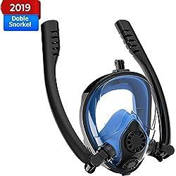 GUFAN Masque de plongée, Respiration sûre brevetée 2019, Masque de plongée intégral à Test d'eau et de Brouillard, Masque de plongée panoramique à 180 ° pour Adultes et Enfants, Bleu, S/M