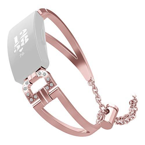 Hengzi Luxus-D-Word-Metallkristall-Uhrenarmband-Armband für Fitbit Inspire/Inspire HR (Pink)