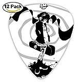 Anime Girl Headphones Black White Guitar Pick 12pack
