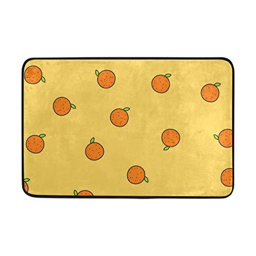 FAJRO Cartoon Orange Muster Polyester 5 x 7 Bereich Teppich Schuhe Schaber Eingang Weg Fußmatte Multimuster Fußmatten Home Dec Anti-Rutsch Indoor Outdoor (Orange Teppich, 5 X 7)