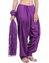 Jaipur Kurti Pure Cotton Patiala Salwar And Dupatta Set (Purple)