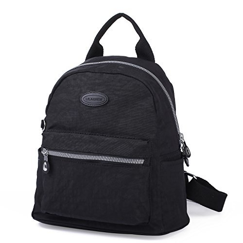 Lily & Drew Nylon Mini Casual Travel Daypack Backpack Handbag Purse (Black)
