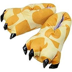 Casa Invierno Zapatos de Garra, Zapatillas Zapatos peluche de felpa Unicornio para adulto Talla 40-44 Jirafa