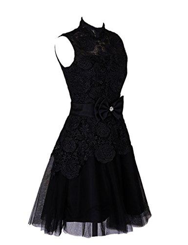 Dressystar Robe de soirée courte,à fleur,en dentelle Noir