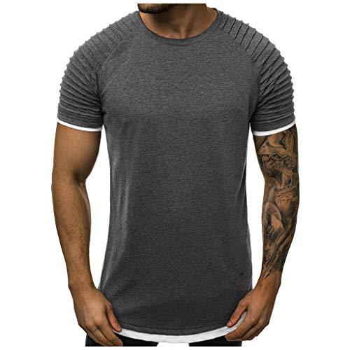 Preisvergleich Produktbild Longra Herren 2-in-1 Shirt Gradient Pattern Casual Revers Kurzarm Shirt Coole Shirts Herren t Shirt männer schöne Sport Tops