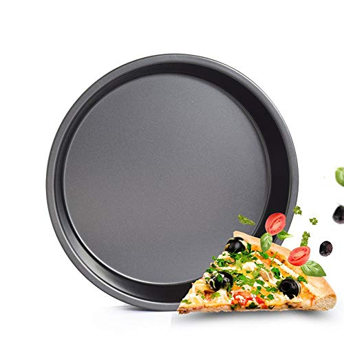 Non-stick Steel Pan Torte (NOBLJX 2Pcs Pizza Pizza Tray Professional Non-Stick Deep-Dish Pizza Pan Round Carbon Steel Bakeware Durable Grill Pan for Cooking Baking Grillen 12