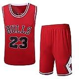 MHDE Completo da Uomo di Alta qualità Bull 23 Jordan Retro Basketball Jersey Uniform Sports Basketball Stitching,Red-M