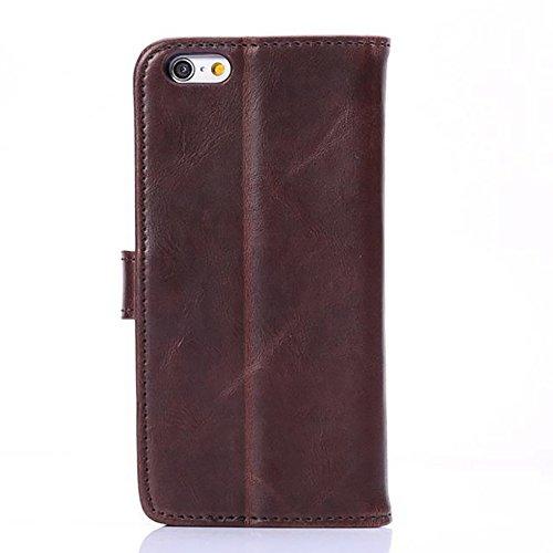 Stand Feature Crazy Horse Texture Case pour iPhone 6 et 6s Faux Leather Wallet Pouch Case, Horizontal Folio Case Cover avec Kickstand & Card Slots & Magnetic Closure JING ( Color : Red ) Wine