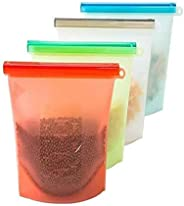 Reusable Silicone Food Storage Bags, Food Grade BPA Free Airtight Seal Preservation Containers for Cooking, Lunch, Snack, San