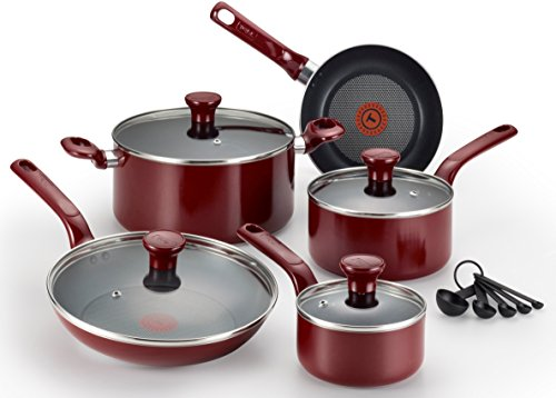 Tefal (T-Fal) Excite 14 Piece Non Stick Cookware Set, Red