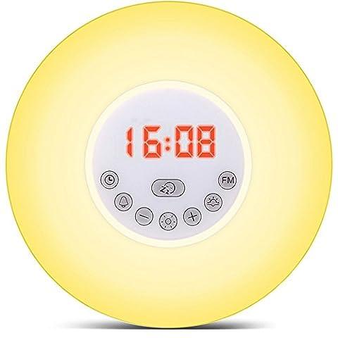 Sunrise Alarm Clock, Wake Up Light with Sunrise Simulation & Snooze Function, Sunset Simulator Night Light Colourful Bedside Lamp - 6 Nature Sounds, Multi Light Modes, Touch