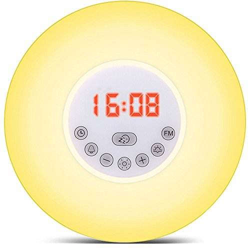 Lunsy Wake up Licht led Lichtwecker Funkwecker Reisewecker Nachtlicht mit Sonnenaufgangfunktion, Sonnenuntergangsfunktion digitales UKW Radio, 7 Lichtfarbe/Farbwechsel /10-Helligkeit warmweiß ideal für Kinderzimmer,Schlafzimmer