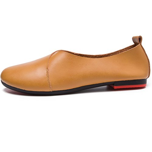 Ballerines Cuir mocassins Casual Loafers Marche Chaussures Femme Marron