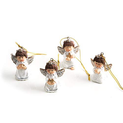 Set di 4 angioletti pendenti, 5 cm, con cordino, colore bianco/oro/argento, decorazione per albero di natale, angelo custode da appendere, per prima comunione, natale, regalo, decorazione