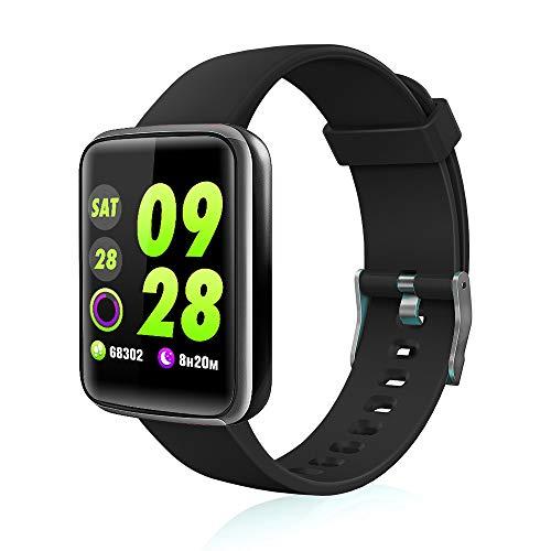 Chriffer Smartwatch, Orologio Intelligente Fitness Tracker Pedometro, Notifiche Whatsapp, Impermeabile IP67 Braccialetto Sport Activity Bluetooth Watch per Android iOS Uomo Donna Bambini - Nero