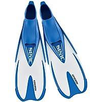 SEAC Speed Aletas de Snorkel para Mujeres, Hombres y niños con calzante Cerrado, Juventud Unisex, Azul Claro/Blanco, 32-33