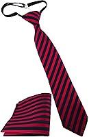 Security Sicherheits Krawatte + Einstecktuch in rot blau gestreift - vorgebunden mit Gummizug