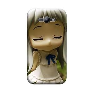Desicase Samsung J1 Cute Closed Eye Doll 3D Matte Finishing Printed Designer Hard Back Case Cover (White)
