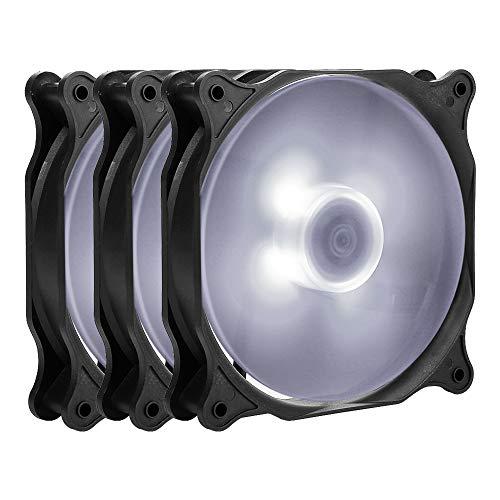 Antec 120mm Gehäuselüfter LED Quiet Edition High Airflow 3 Stueck pro Packung Lüfter,F12 120 mm Gehäuselüfter 4-Pin Molex, Weiß (120mm Antec Lüfter)