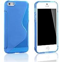 tinxi® Silikon Schutzhülle für iPhone SE 5 5S Silicon Skin Schale Cover Etui mit Welle S Linie (Blau)