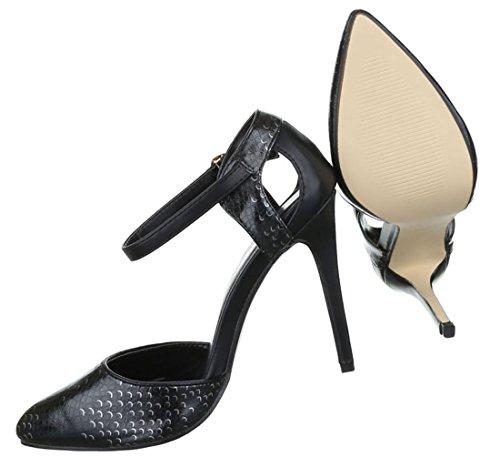 Damen Pumps Schuhe High-Heels Mules Pantoletten Sandaletten Stiletto Schwarz 36 37 38 39 40 41 Schwarz