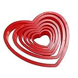 Facemile - Set di 6 stampini a forma di cuore, in plastica, per biscotti, pasta di zucchero, idea...