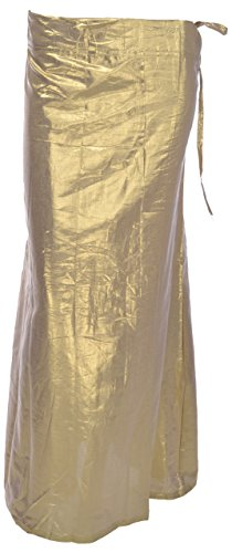 MSM Women's A line Leather Shimmer Petticoat(Mm17-Gold)