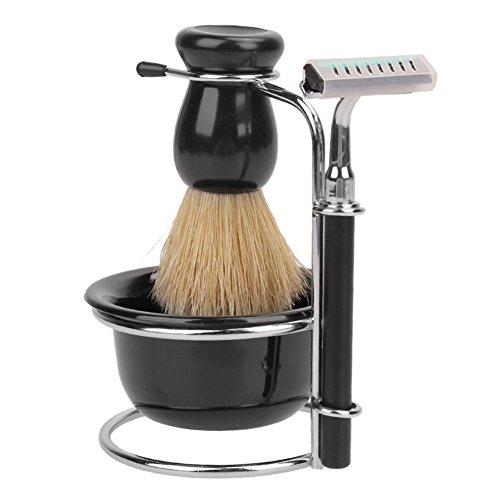 efanr Herren Shaving Bart Kits Professional Borsten Haar Rasierpinsel + Edelstahl Rasierpinsel-Ständer Halter + Rasierer + Schale Tasse Rasierpinsel, Werkzeug Set (Single-schäler)